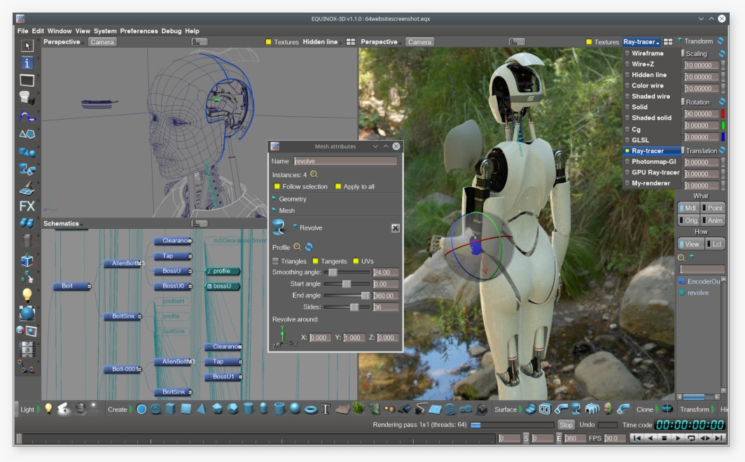 linux 3d interactive ray-tracer 3D printing CAD CAM rendering modeling animation EQNX3D eqnx3d